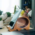 Wood Piggy Bank Phone Holder